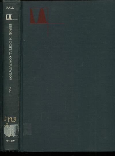 Error in Digital Computation, volume I; proceedi