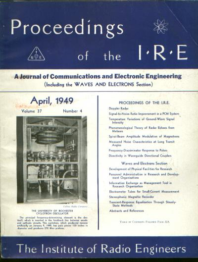 Proceedings IRE volume 37 number 4, April 1949