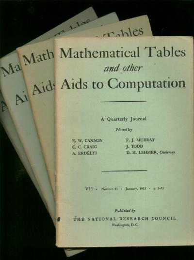 Mathematical Tables and other Aids to Computation, complete year 1953 individual issues; Vol. VII, number 41, January 1953; April 1953; July 1953; October 1953. Cannon, Craig, MTAC.