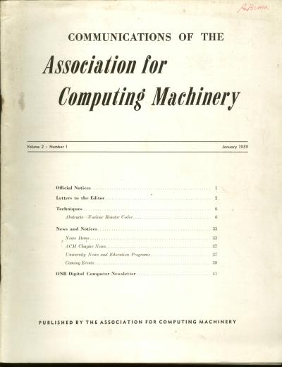 Communications of the Association for Computing Machinery, volume 2, no. 1, January 1959. ACM Assoc. for Computing Machinery.