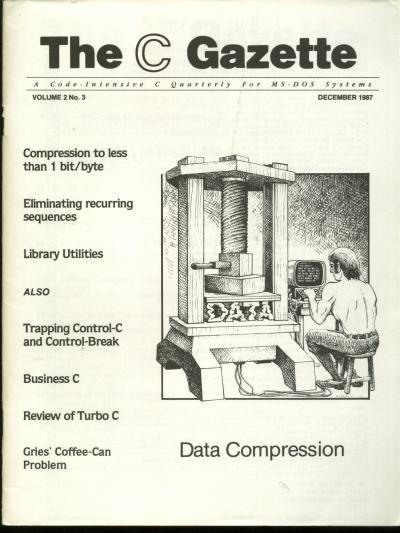 The C Gazette, volume 2 no. 3, December 1987; a Code-intensive C Quarterly for MS-DOS Systems