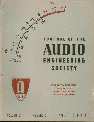 JAES volume 7, number 2, April 1959; cover stories - Peak Energy Distribution; Psychoacoustics; Stereo Reproduction; Magnetic Recording. Journal of the Audio Engineering Society.