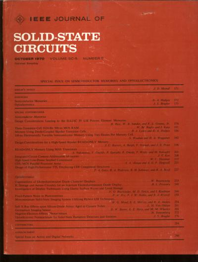 IEEE Journal of Solid-State Circuits, special issue on Semiconductor Memories and Optoelectronics, October 1970, Volume SC-5 number 5. IEEE.
