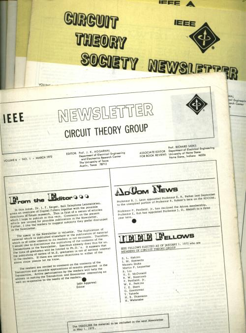10 individual issues of Circuit Theory Group Newsletter, 1972, 1973; Circuit Theory Society Newsletter; Circuits & Systems Society Newsletter