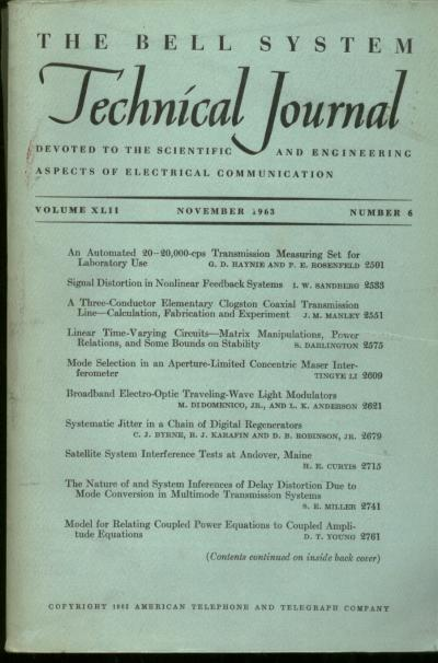 The Bell System Technical Journal vol XLII no. 6, November 1963. November 1963 The Bell System Technical Journal vol XLII no. 6.