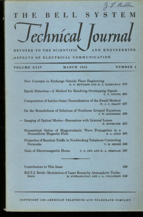 The Bell System Technical Journal volume XLIV no. 3, March 1965, single issue. March 1965 The Bell System Technical Journal volume XLIV no. 3, single issue.
