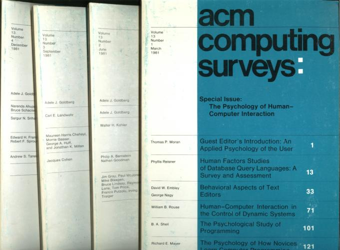 ACM Computing Surveys -- volume 13, numbers 1 through 4 inclusive, 1981 (four individual issues). Association for Computing Machinery.