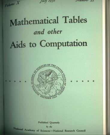 Mathematical Tables and Other Aids to Computation 1956, complete year, bound; volume 10 nos. 53, 54, 55, 56. Tompkins, Bigelow, National Academy of Sciences.