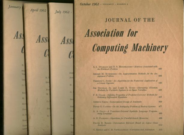 Journal of the Association for Computing Machinery, 4 issues complete year 1962, volume 9 nos. 1 - 4, original separate issues. ACM, Ginsburg Bellman.