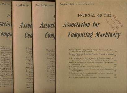 Journal of the Assocation for Computing Machinery, 1960 volume 7 nos. 1 through 4, full year individual issues. ACM.