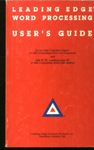 Leading Edge Word Processing User's Guide. Leading Edge software, IBM PC XT Leading edge XT hard-disk.