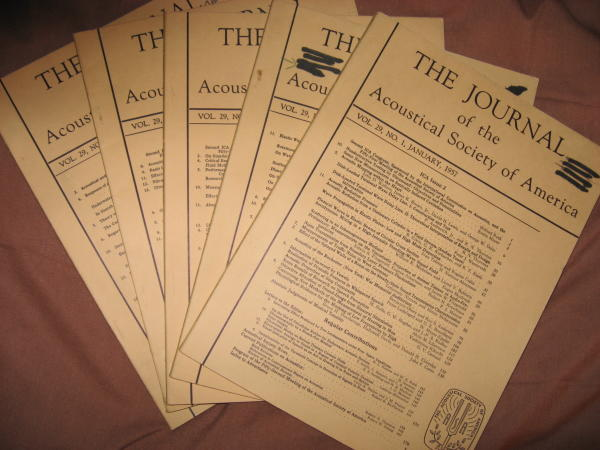 Lot of 5 issues 1957 Journal of the Acoustical Society of America, vol. 29 nos. 1, 2, 5, 6, 7 (January, February, May, June, July 1957). Licklider, Hartley, various authors, var. The Journal of the Acoustical Society of America.