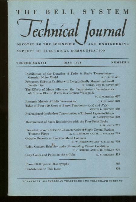 Bell System Technical Journal volume XXXVII Number 3 May 1958 ; vol 37 no 3. AT&T.