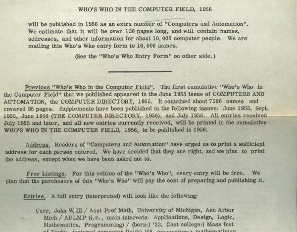Who's Who in the Computer Field, one-page entry form, 1956, for Computers and Automation, (ephemera). Edmund C. Berkeley.
