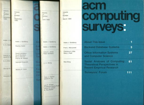 ACM Computing Surveys volume 12, no. 1 through no. 4, 1980 complete year, 4 individual issues; March 1980, June 1980, September 1980, December 1980