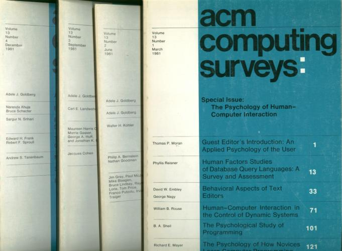 ACM Computing Surveys volume 13, no. 1 through no. 4, 1981 complete year, 4 individual issues; March 1981, June 1981, September 1981, December 1981. Association of Computing Machinery.