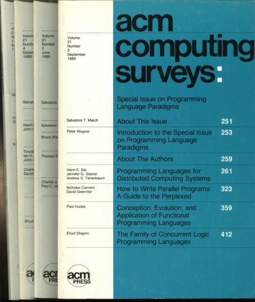 ACM Computing Surveys, 4 individual issues, complete year 1989; Volume 21 nos. 1-4, March, June, September, December 1989. Association for Computing Machinery.