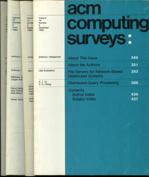 ACM Computing Surveys, four individual issues, complete year 1984; Volume 16 nos. 1-4, March, June, September, December 1984. Association for Computing Machinery.