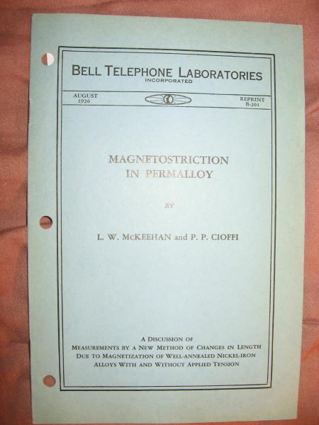 Magnetostriction in Permalloy; Bell Telephone Laboratories reprint B-201, August 1926. LW McKeehan, P P. Cioffi.