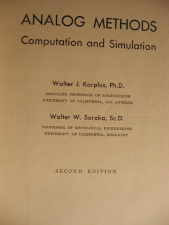 Analog Methods, computation and simulation; second edition 1959