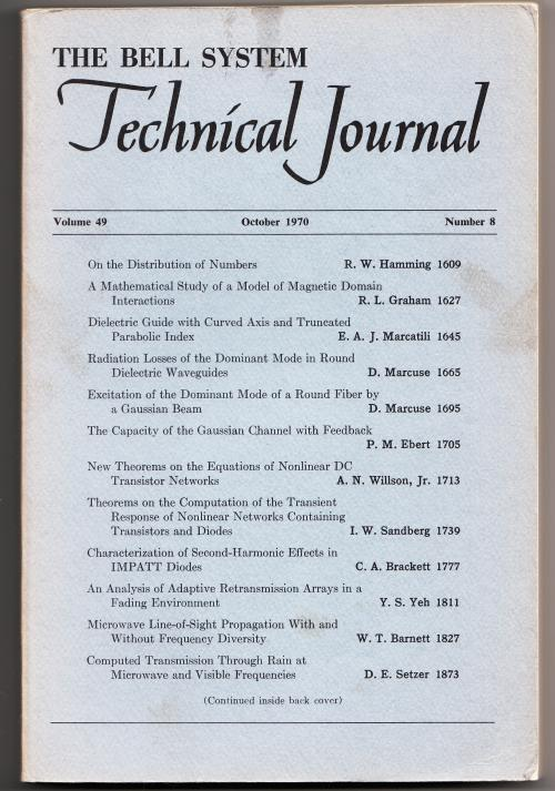 The Bell System Technical Journal, Volume 49 no. 8, October 1970. AT&T BSTJ.