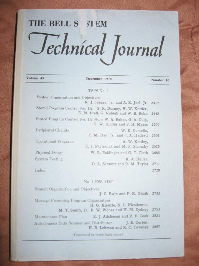 The Bell System Technical Journal volume 49 no. 10, December 1970; TSPS No. 1; No. 1 ESS ADF. AT&T BSTJ.