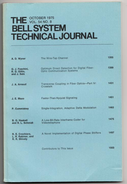 The Bell System Technical Journal volume 54 no. 8, October 1975. AT&T.