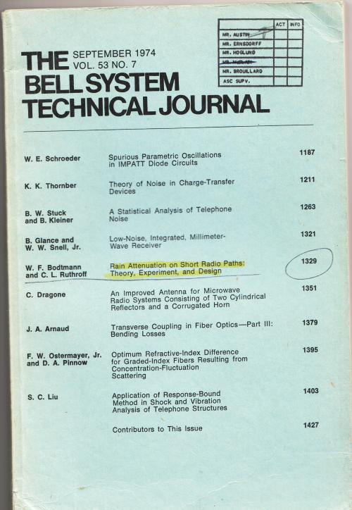 The Bell System Technical Journal vollume 53 no. 7, September 1974. AT&T.