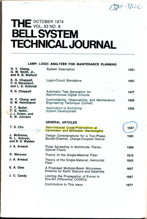 The Bell System Technical Journal volume 53 no.8, October 1974. AT&T.