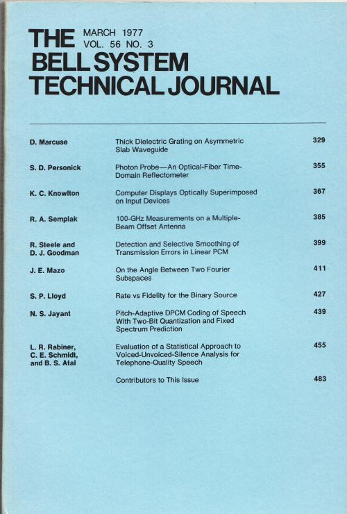 The Bell System Technical Journal vol. 56 no. 3, March 1977. AT&T.