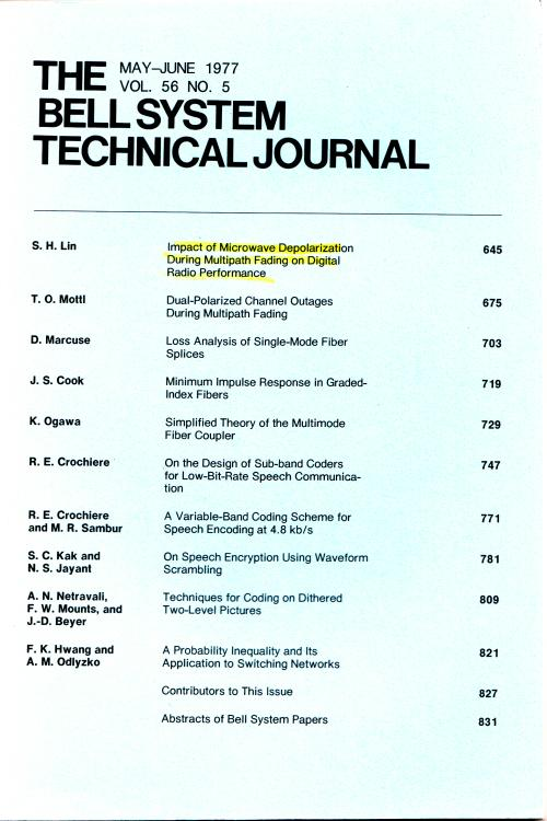 The Bell System Technical Journal vol. 56 no. 5, May-June 1977. AT&T.