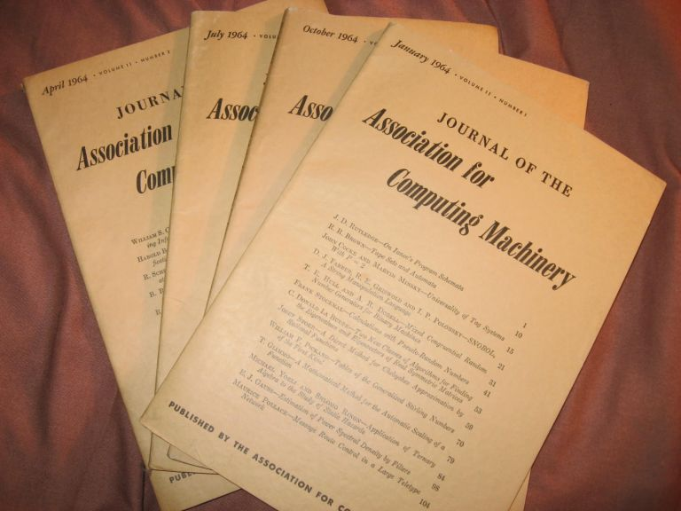Journal of the Association for Computing Machinery, volume 11 numbers 1-4, individual issues, 1964; January, April, July, October 1964. Assoc. for Computing Machinery ACM 1964.