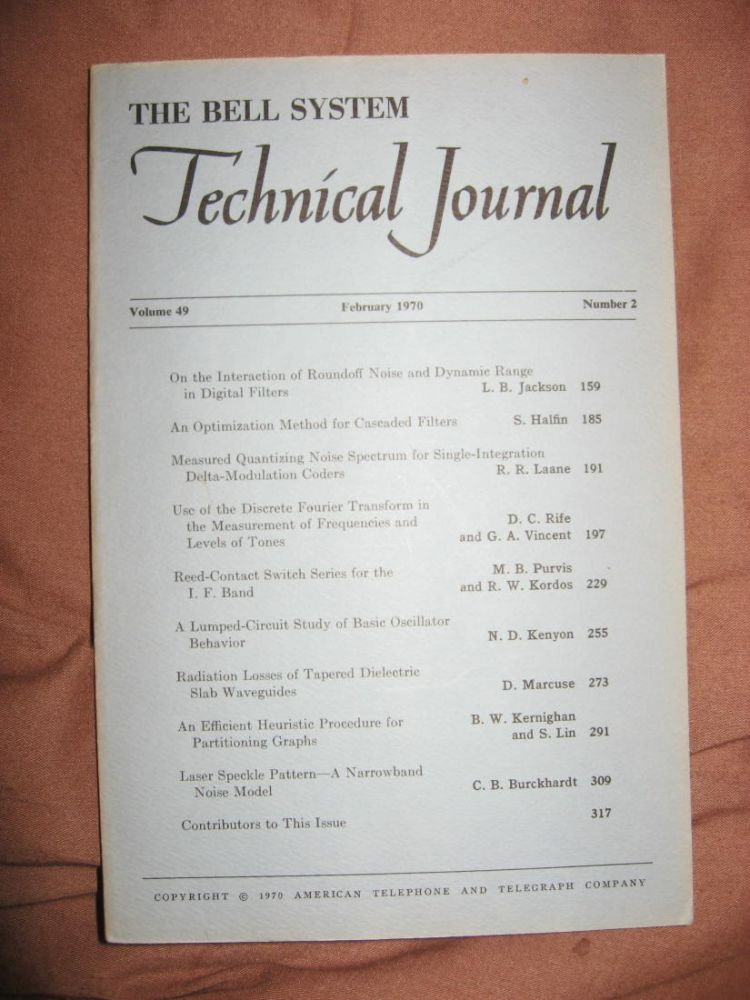 The Bell System Technical Journal volume 49 number 2, February 1970. BSTJ AT&T.