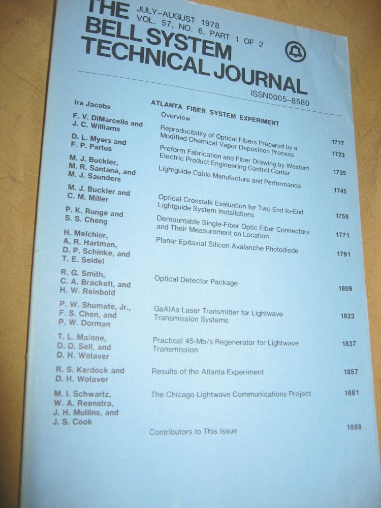 The Bell System Technical Journal July-August 1978 vol 57 no 6 pt 1, individual issue. AT&T BSTJ.