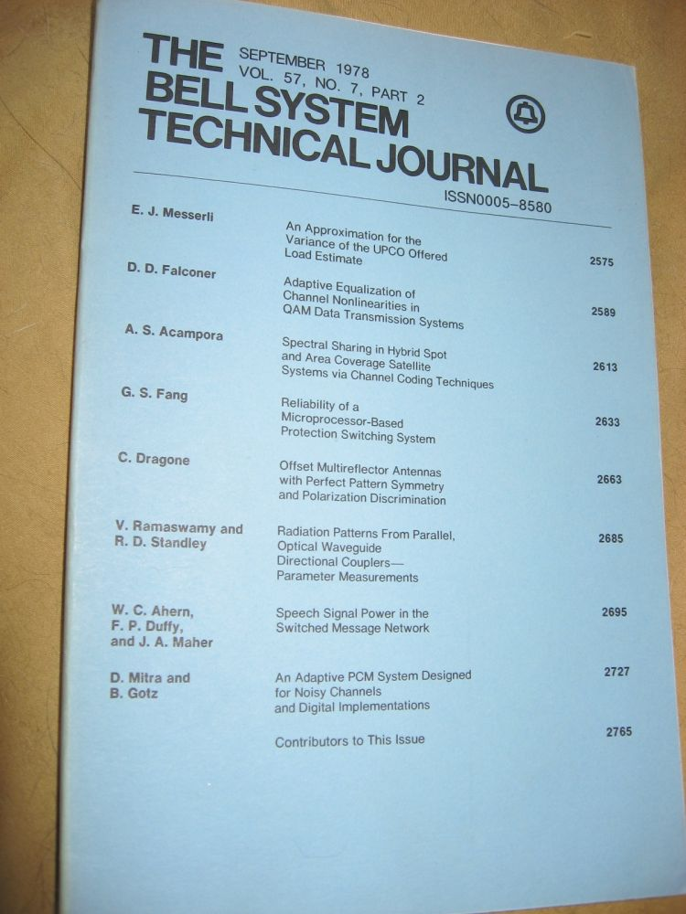 The Bell System Technical Journal September 1978 vol 57 no 7 pt 2, individual issue. AT&T BSTJ.
