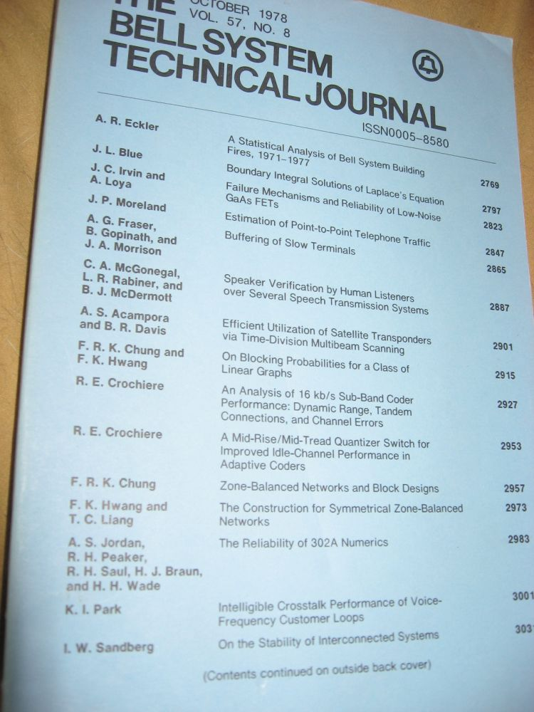 The Bell System Technical Journal October 1978 vol 57 no. 8, individual issue. AT&T BSTJ.