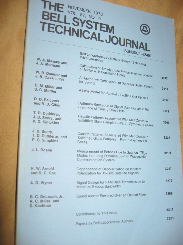 The Bell System Technical Journal November 1978 vol 57 no. 9, individual issue. AT&T BSTJ.