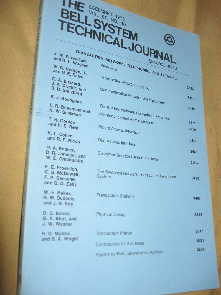 The Bell System Technical Journal December 1978 vol 57 no. 10, individual issue. AT&T BSTJ var.