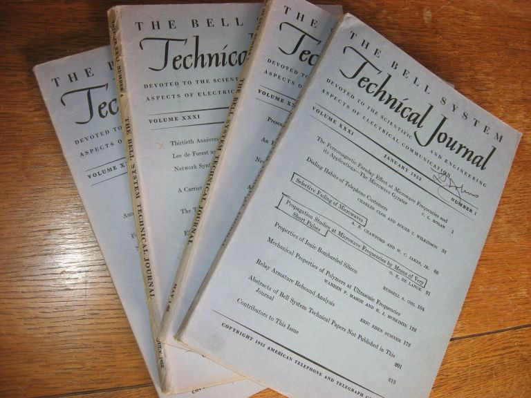 The Bell System Technical Journal 4 separate issues 1952 January, May, July, September volume XXI numbers 1, 3, 4, 5. Bell System Technical Journal.