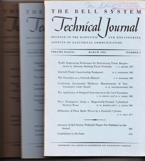 The Bell System Technical Journal 3 individual issues 1954 March, July, September. AT&T BSTJ.