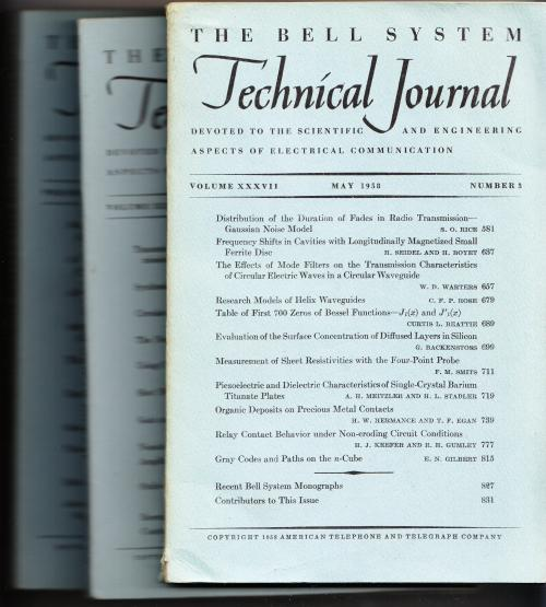 The Bell System Technical Journal volume XXXVII 1958 3 individual issues May, July, November; numbers 3, 4, 6. AT&T BSTJ.