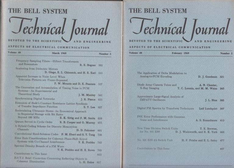 The Bell System Technical Journal Lot of 2 individual issues, 1969 Volume 48 numbers 2, 3; February, March 1969. AT&T BSTJ.