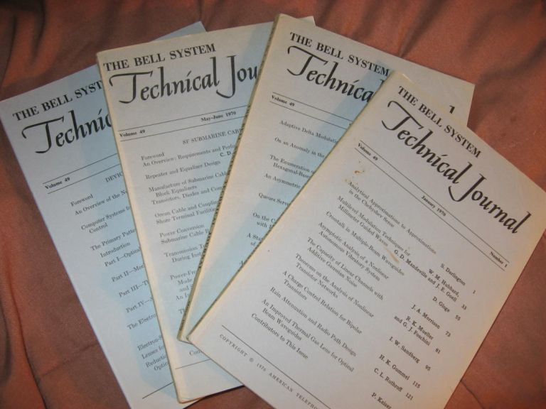 The Bell System Technical Journal 1970 LOT of 4 individual issues Volume 49 numbers 1,3,5,9; January, March, May-June, November. AT&T BSTJ.