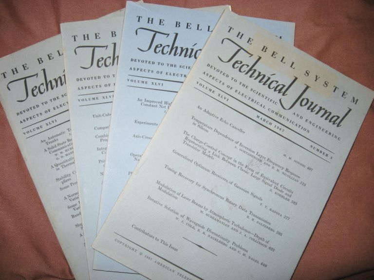 The Bell System Technical Journal 1967 LOT of 4 individual issues, Volume XLVI numbers 3,4,5,9, March, April, May-June, November 1967. AT&T BSTJ.