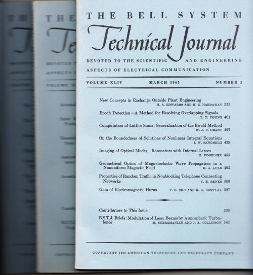 The Bell System Technical Journal 1965 LOT of 3 individual issues Volume XLIV numbers 3,4,5 March, April, May-June. AT&T BSTJ.