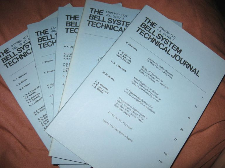 The Bell System Technical Journal 1977 LOT of 5 individual issues, Volume 56 numbers 1,2,4,6,8, January, February, April, July-August, October. AT&T BSTJ.