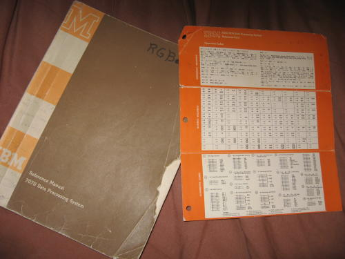 IBM Reference Manual 7070 Data Processing System 1960, with Reference Card. IBM.