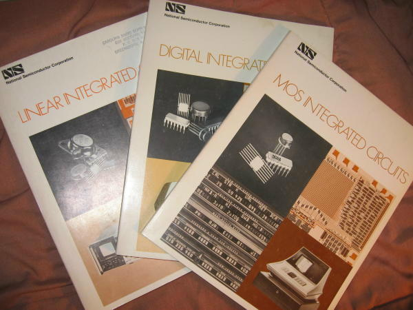 3 Databooks 1970, 1971 -- 1) MOS Integrated Circuits; 2) Digital Integrated Circuits; 3) Linear Integrated Circuits 1970, 1971. National Semiconductor Corporation.