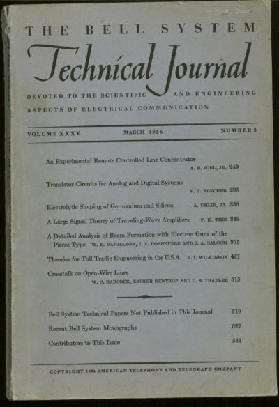 Bell System Technical Journal Volume XXXV Number 2 March 1956 , Vol 35 No 2. Bell System Technical Journal.