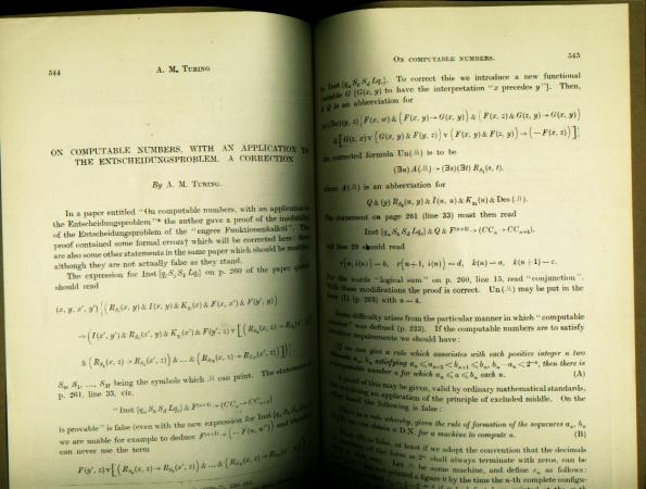 On Computable Numbers, with an Application to the Entscheideungsproblem. A Correction. Alan Matthison Turing, Proceedings of the London Mathematical Society 1936.